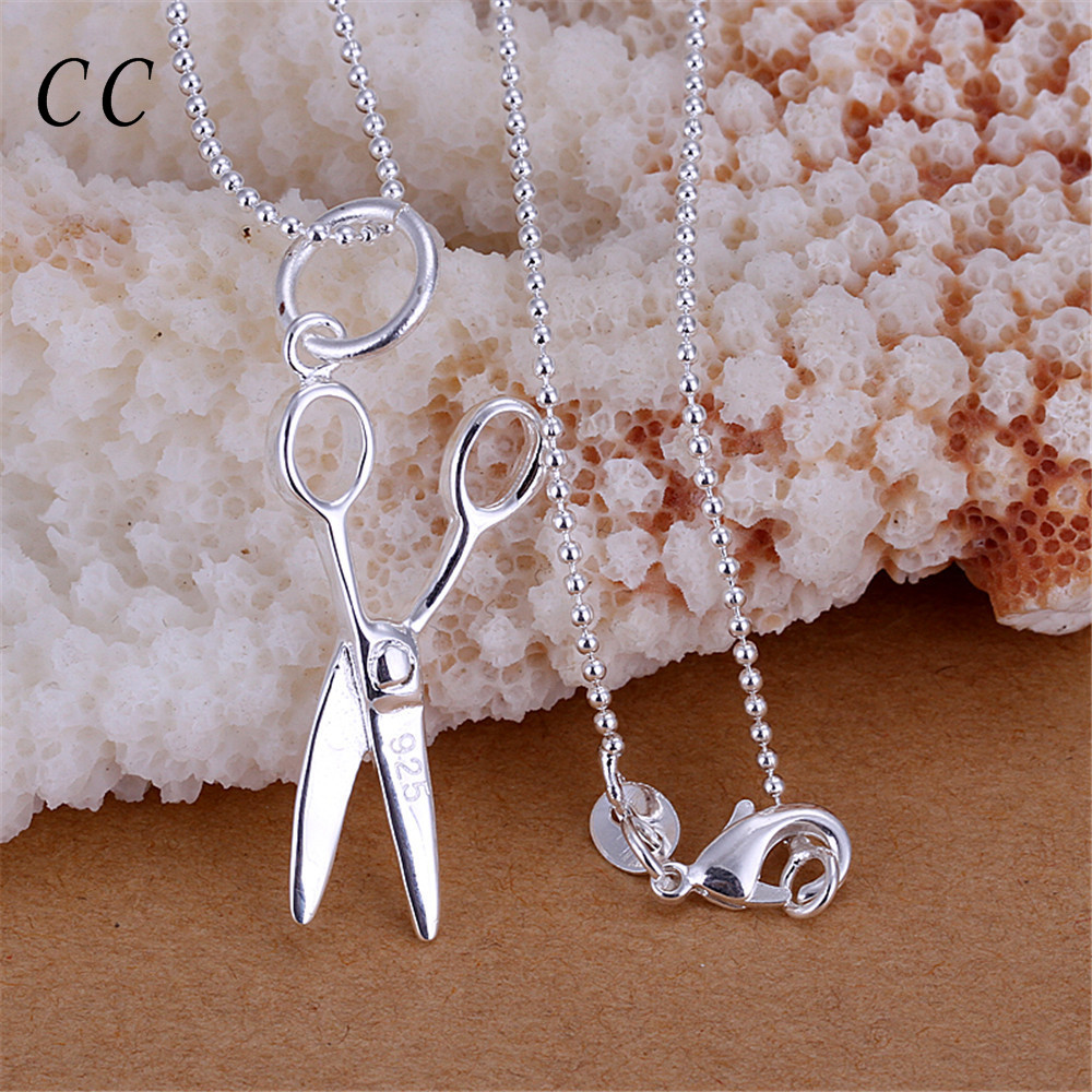 Cheap new trendy fashion jewelry personality scissors shape pendants necklace for women for men with sliver plated CCNE0809(China (Mainland))