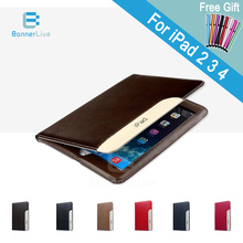 Luxury Automatic Wake-up Sleep Smart Cover PU Leather Case For iPad 2 3 4 SmartCover for iPad4 with Stylus Pen as Gift(China (Mainland))