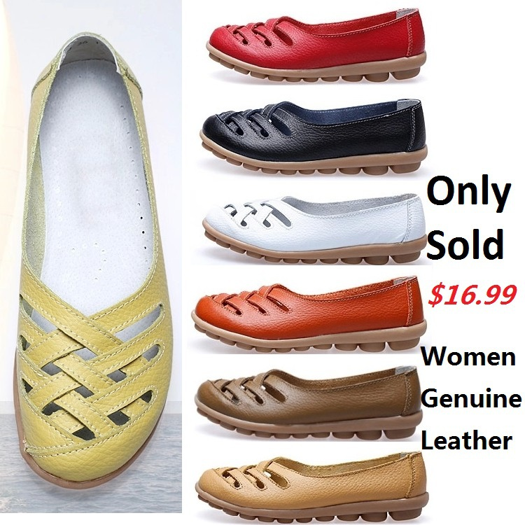 Woman flats women genuine leather shoes comfort walking mother casual summer sandals lady OL hospital nurse shoe - MO Genuine Leather Shoes Outlets store