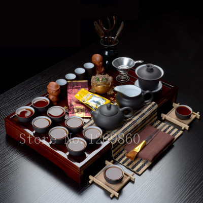 Classic Style 36 Piece Drinkware Chinese Yixing Zisha Purple Gaiwan Kung fu Solid Wood Tea Tray Sets Ceramic Pots Cups Teapots(China (Mainland))