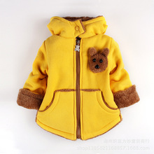 Cartoon Bear Children Winter Outwear Boys and Girls Thick Cotton Hoodies Infant Baby Cashmere Zip Sweater 1-2-3--4-5-6 Years Old(China (Mainland))