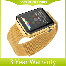 Milanese Loop Watchband Magnetic Stainless Steel Band Link Bracelet Strap w/ Adapter for iWatch Apple Watch 38mm 42mm Black Gold