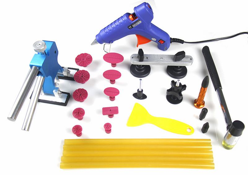 Super PDR Tools Kit with Blue Glue Gun Dent Lifter Red Tabs Yellow Glue Rubber Hammer Paintless Dent Repair Tools Supplier Y-009<br><br>Aliexpress