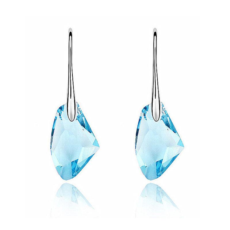 Korean Fashion sparkling Sapphire Crystal ax Austrian Crystal Earrings for women axe rock brincos de festa Wedding Gift Jewelry(China (Mainland))