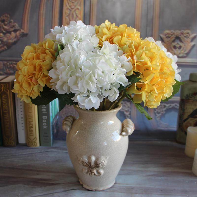Желтый французский выросли на 1 букет искусственного шелка пион Цветочная композиция комната Гортензия Свадебный Декор DIY партии