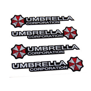 4 Pcs Set Resident Evil Corporation Umbrella Car Stickers Decal Cover Waterproof Reflective Car styling On