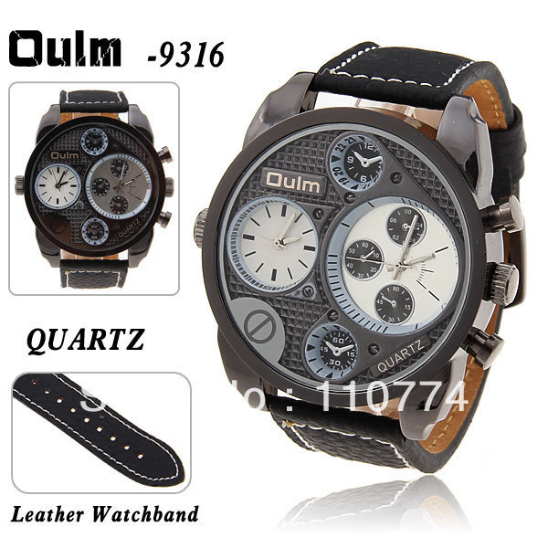 Free shipping Oulm Adventure Military Men's Watch with Dual Movt Function Black 25mm Leather Band - White Dial