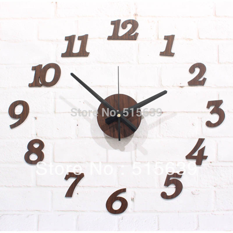 DIY Wall Clock Wooden Textures Stickers Modern Design Living Room Watches Design Hours Art Free Post(China (Mainland))