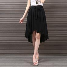 Summer Preppy Style Sweet Sky Blue High Waist Irregular Midi Skirt Sexy Black Women Chiffon Pleated Skirt