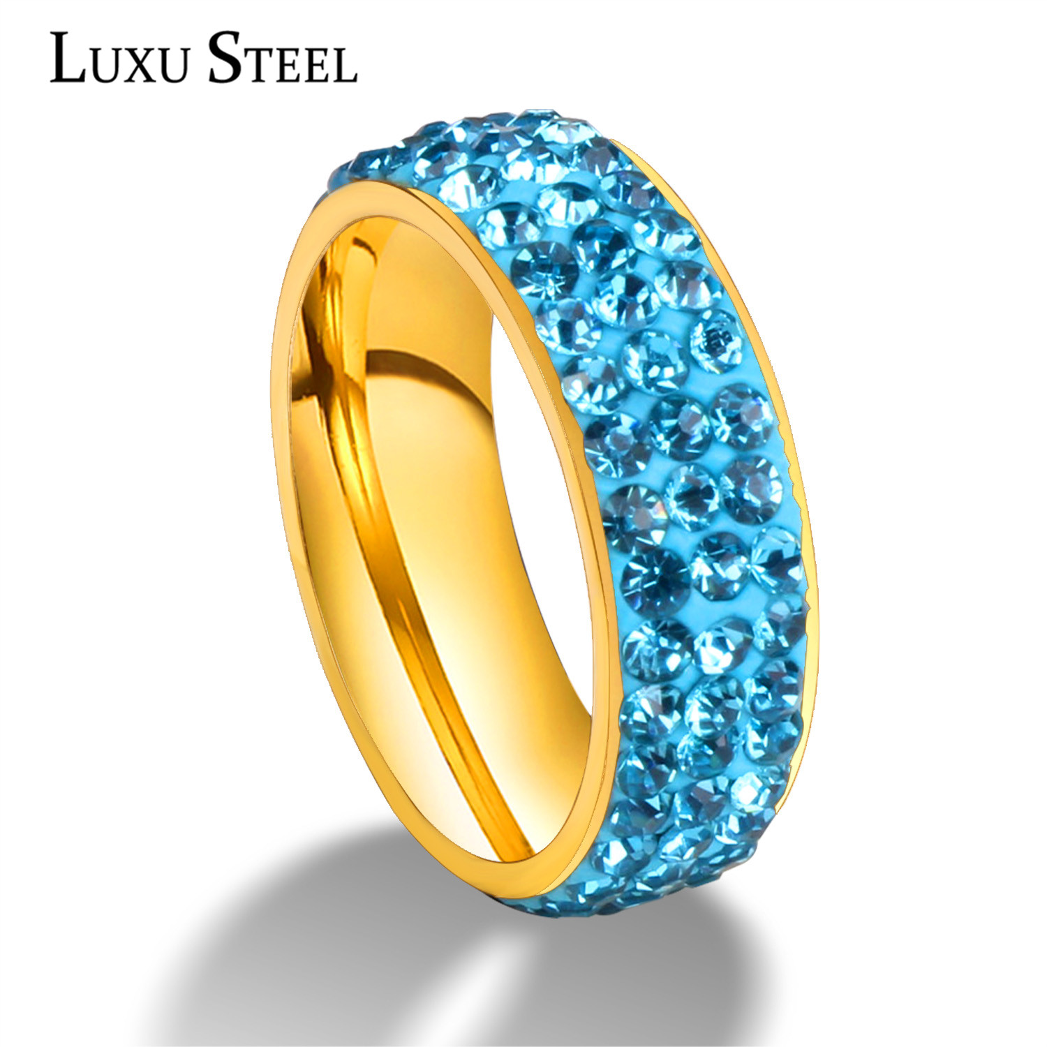 Super Quality Full Colors Promised 316l Stainless Steel Engagement Rings CZ Rings(China (Mainland))