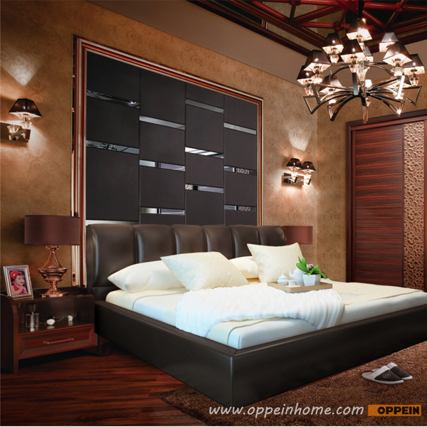 OPPEIN Hot Sell Cherry Wood Bed / soft bed/double bed king/queen size bed hot sale style OP-SH685(China (Mainland))