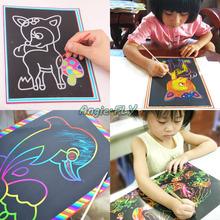 5 unids colorido raspado dibujo pintura Pictures profesor de escuela educativa el aprendizaje niños niños DIY juguetes 26 cm(China (Mainland))