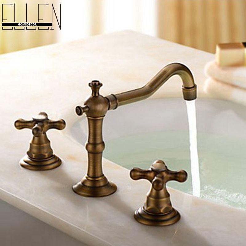 Antique Bronze Bathroom Faucets Basin Mixer Double Handle Bathroom 3 Hole Sink Mixer Taps In