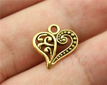 WYSIWYG 10pcs 15*14mm antique gold heart charms