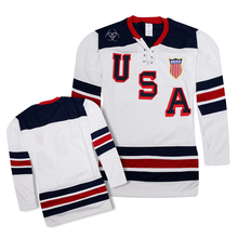 Embroidery white hockey jersey training suit 100% polyester usa team(China (Mainland))