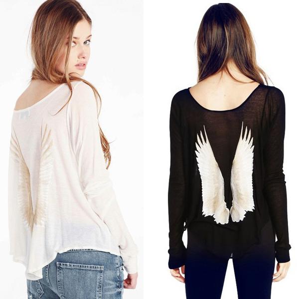 Angel T-Shirt Blusas Femininas 2014 Summer Loose Printing Women Cotton Tops Cosy Knit Blouses Camisetas Mujer New Angel T-Shirt(China (Mainland))
