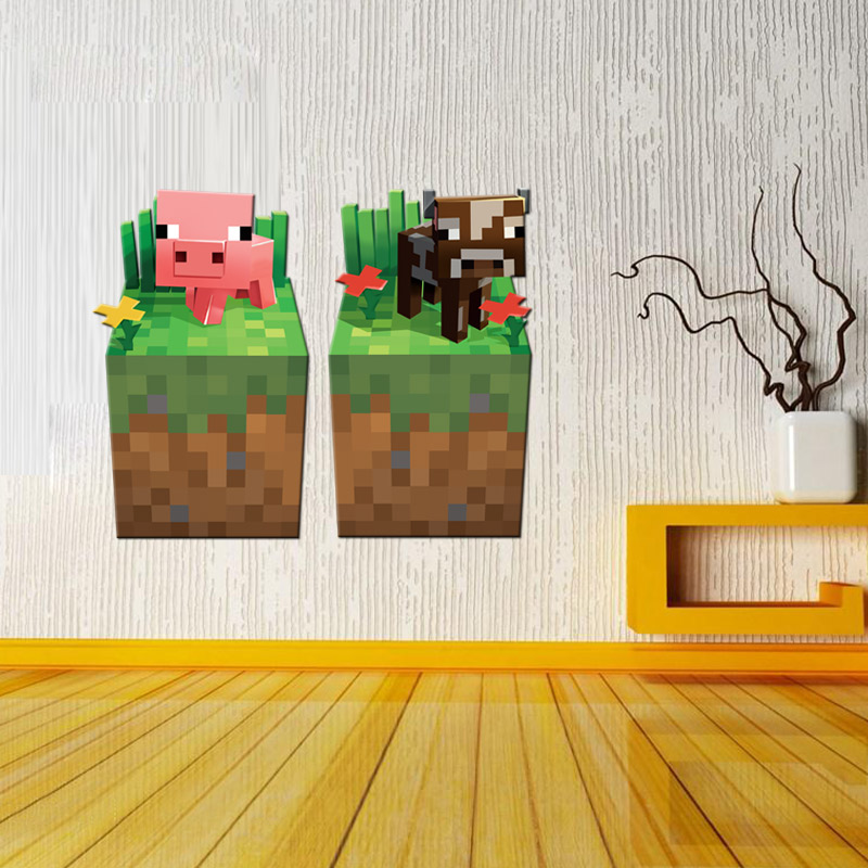 2017 newest minecraft wall stickers for kids rooms 3d for 3d room decoration games