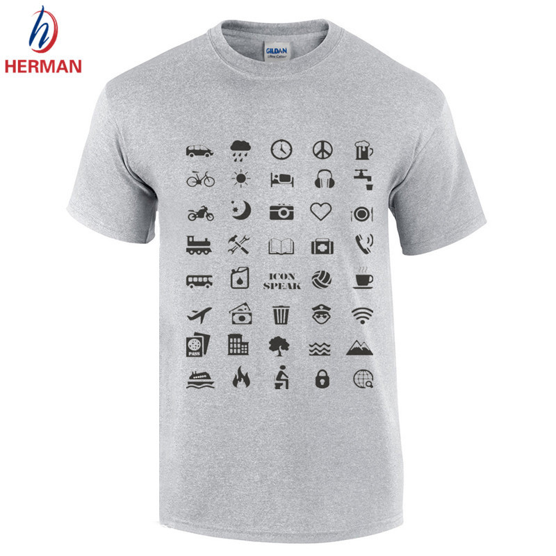 Euro Size,Funny Iconspeak Cotton T shirts Good Quality Travel Icon for World Travellers T-shirts Man Cotton Print Clothing,GT211(China (Mainland))
