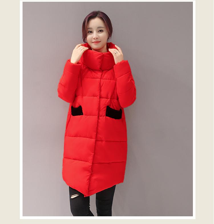 Скидки на Зимняя куртка женщин средней длины 2016 вниз хлопка-ватник женщин тонкий моды утолщение ватные куртки верхняя одежда k050