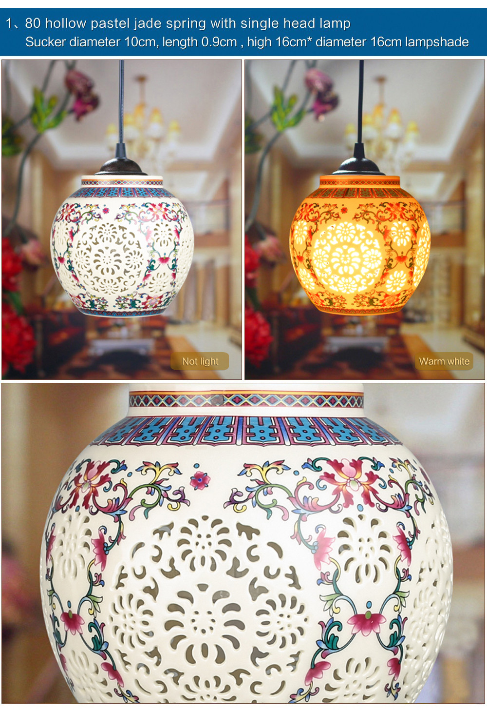 Antique Retro Ceramic Lamp Vintage Lamp Loft E27 90-260V Porcelain Pendant Lamp Indoor Lighting Dining Lighting Fixtures