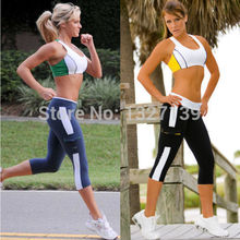 Women Tights Capri Running yoga Sport Pants High Waist Cropped Leggings Fitness SZ S–XL