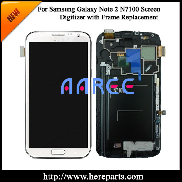 100% Original New For Samsung Galaxy Note 2 N7100 LCD Digitizer Assembly with frame -white Free shipping(China (Mainland))