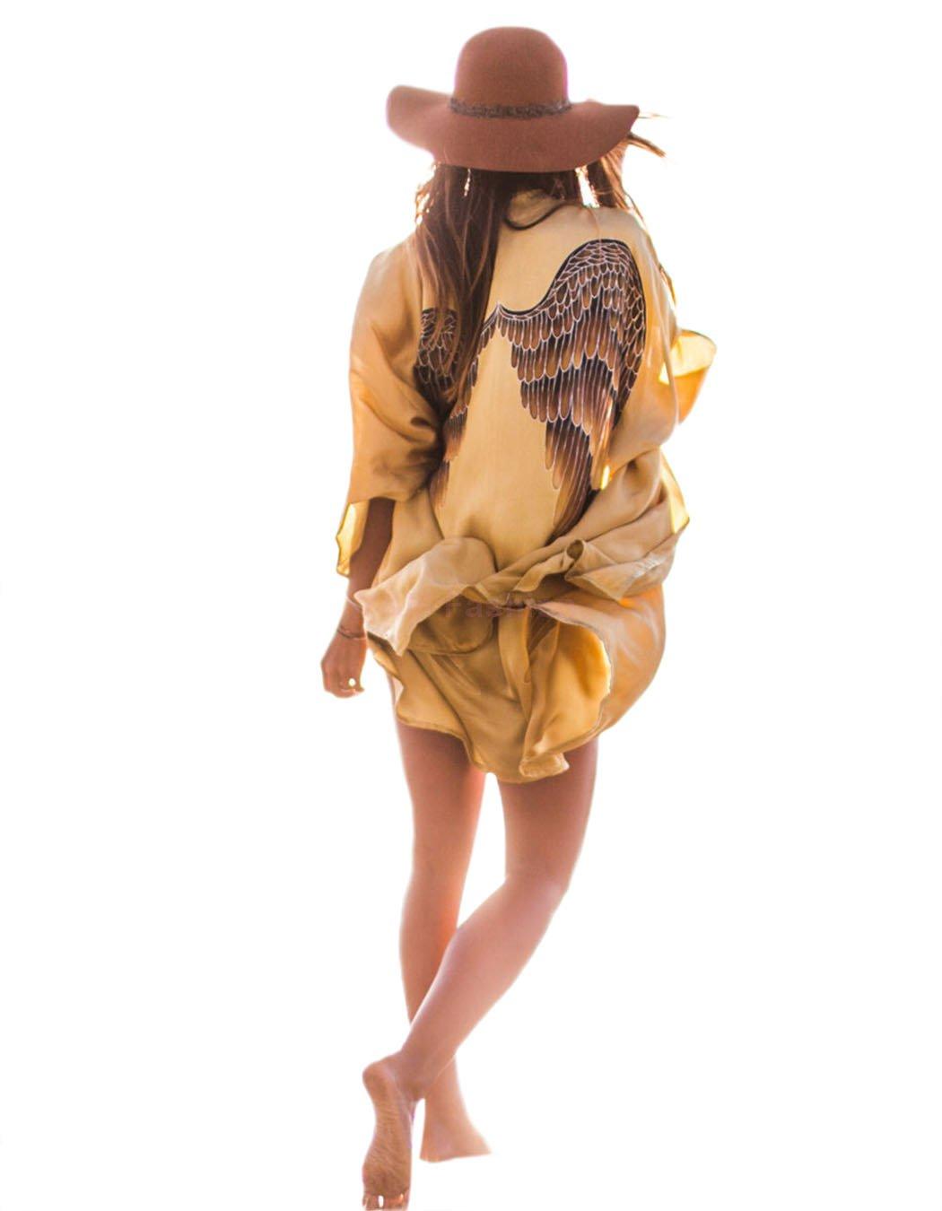 Women'S Satin Kimono Sleeve Blouses 116