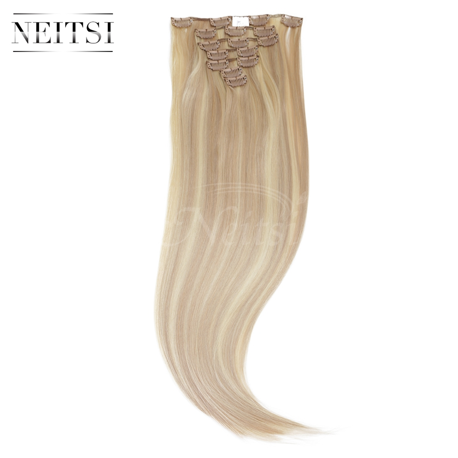 """Neitsi 22"""" 7pcs/set 140g 16clips Straight Ombre Synthetic Clip In Hair Extensions Heat Resistant Hair 18/613# Braiding Hairpiece(China (Mainland))"""