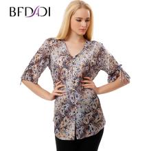 BFDADI 2017 Новые Цветочные Женщин Блузки Рубашки Вскользь Блузка С Длинным Рукавом Дамы Вершины Моды Для Женщин Плюс Размер 9623(China (Mainland))