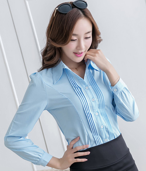 new 2015 hot fashion cozy women clothes turn-down collar work shirt solid silk office women shirts plus size S-XXL tops(China (Mainland))