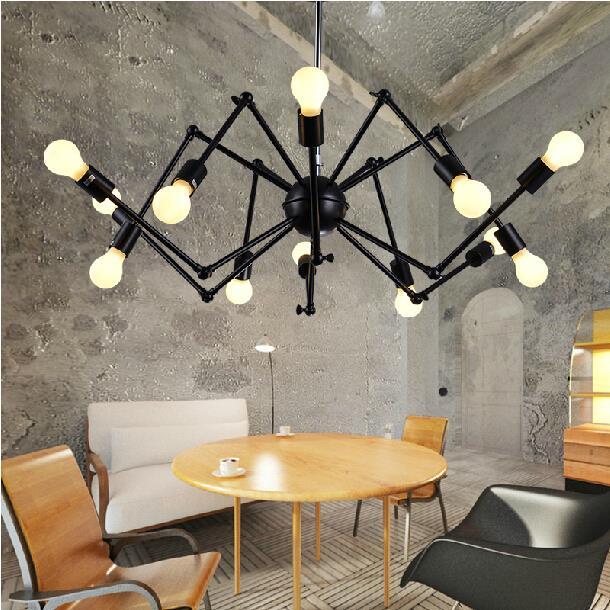 Black spider lamp industrial Loft Vintage pendant light E27 Edison bulb iron black painted for living/ dining room home(China (Mainland))