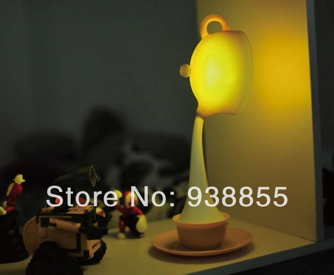 Hot! 2014 Free Shipping 0.3W Table Lamp Led USB Cable Hospitality Teapot Lamp LED Small night lamp Home decoration lamp(China (Mainland))