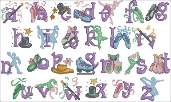 X.X.FISH Cross Stitch Crazy139-1cartoon[Dance the alphabet]water-soluble printing,100% accurate pattern,11CT,Need to embroidery(China (Mainland))