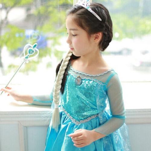 Продвижение высокое качество девушки принцесса анна эльза косплей костюм детский ну вечеринку платье SZ 3-8Y бесплатная доставка