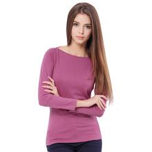 2016 Autumn And Winter New Slim Slash Neck Long-sleeved Cotton Simplicity Women T-shirt