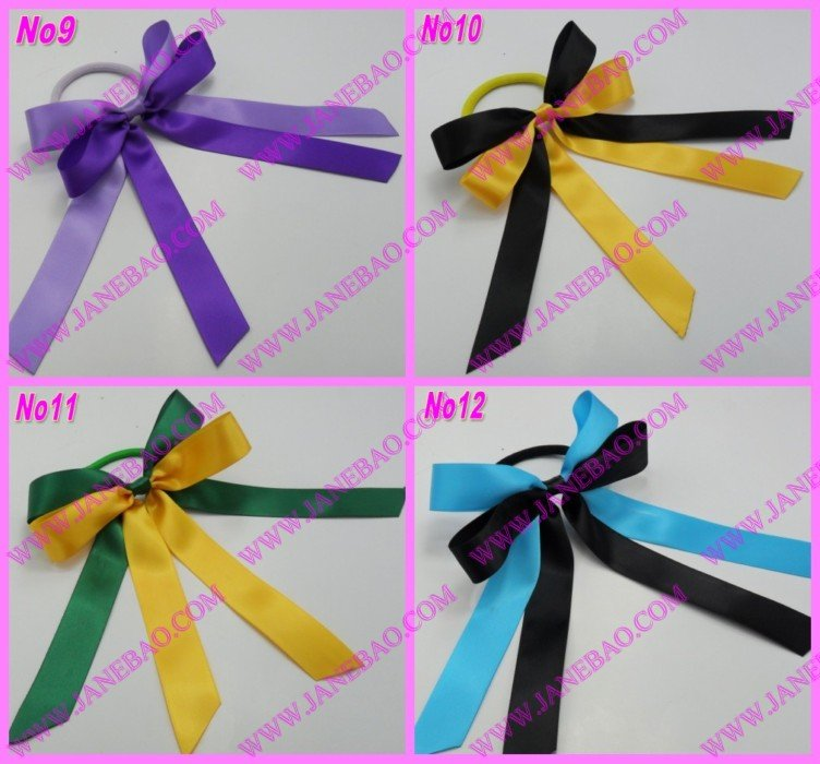 free shipping 1000pcs mix color Sport Pony O Hair Bow Ponytail Streamers ponytail holder bows(China (Mainland))