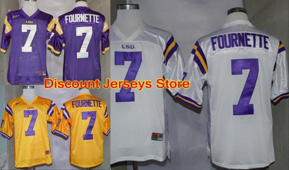 New #7 Leonard Fournette Jersey LSU Tigers purple white yellow American College Football Jerseys Embroidery Logo Free shipping(China (Mainland))