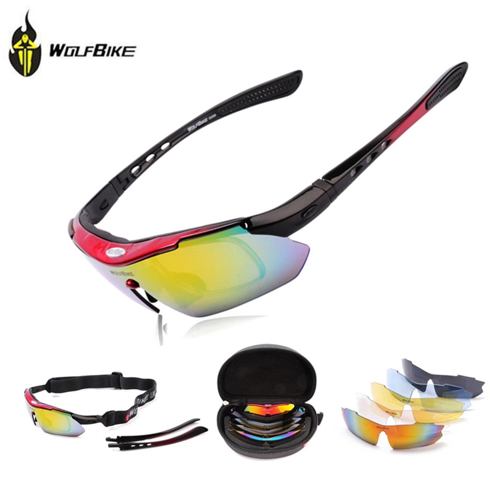 WOLFBIKE Men MTB Road Mountain Cycling Bicycle Bike UV400 Sports Sun Glasses Eyewear Racing Goggles Polarized Sunglasses 5 Lens(China (Mainland))
