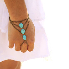 New Vintage style Tibetan Silver Flowers Heart turquoise bracelet Finger Bangle Slave jewelry for women Accessories(China (Mainland))