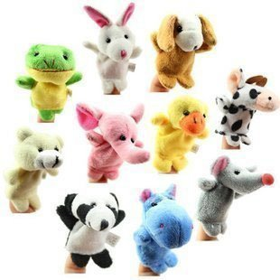 Free Shipping 100pcs/lot Baby Plush Toy,Finger Puppets,Talking Props(10 animal group) wholesale and retails(China (Mainland))