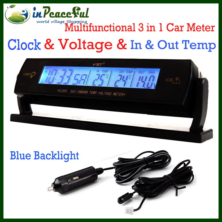 Гаджет  ( 8 pcs / lot ) Vst-7013V Multifunctional 3 in 1 Car voltmeter, Digital Clock / in & out Thermometer with Blue backlight None Инструменты