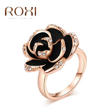 "Roxi Fashion Women's Jewelry High Quality Superb Ring Rose Gold Plated ""Black Flower"" Round Pave Austrian Crystals(China (Mainland))"