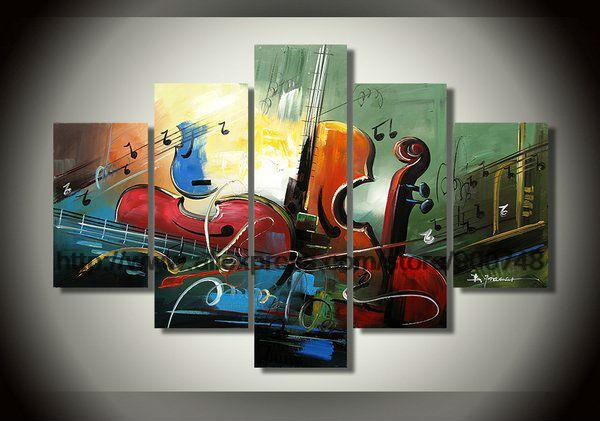 Large D Wall Art Musical Instruments Theme Art Abstract Style Family Hotel Decorative Picture Asian Decor Painting Canvas Fo(China (Mainland))