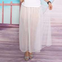 2016 summer new design sexy beach pure color with3 layers skirt casual high waist transparent skirt wholesale free shipping