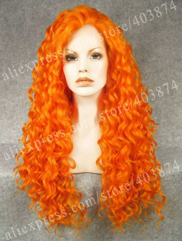 2014 Party Long Kinky Curly Wig Bright Orange Cosplay Lace Front Synthetic Wigs <br><br>Aliexpress