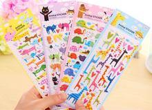 DIY Cartoon 3D Sponge Bubble Sticker Cat Dog Giraffe Elephant for Kids Toy Notebook Album Calendar Memo Stickers 1 Sheet