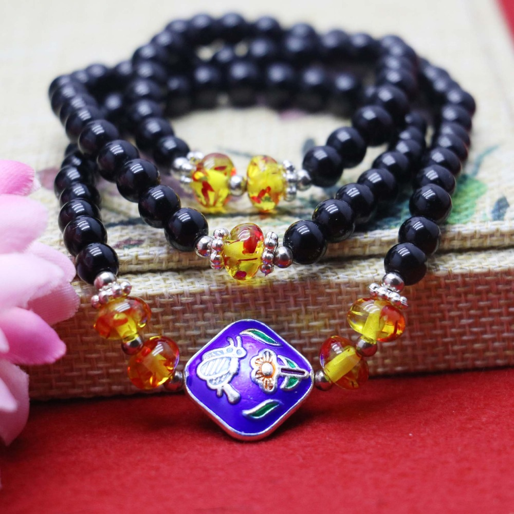 6mm Retro style Black Agate Natural stone beads Tibet Silver Crystal Chalcedony Bracelet hand chain women girls Adornment(China (Mainland))