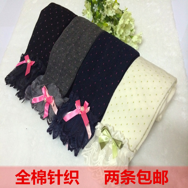 girls knit cotton lace bowknot lace render pantyhose,Nine points baby conjoined socks(China (Mainland))