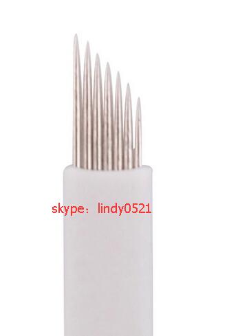 wholesale  Permanent Makeup Eyebrow Tattoo Needle Bevel Blade 7 Needles Manual Eyebrow Needles Free Shipping<br><br>Aliexpress