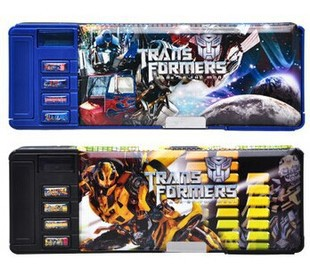 Transformers multifunction double pencil case pencil box children's stationery box super large capacity stationery bags box(China (Mainland))
